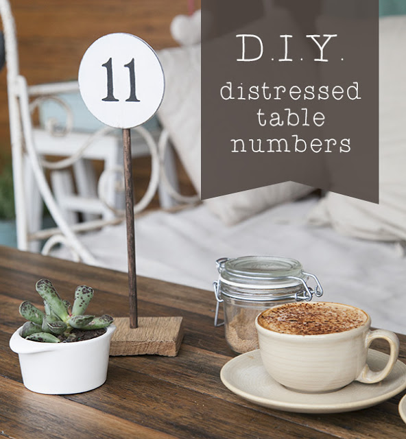 D.I.Y. distressed table numbers